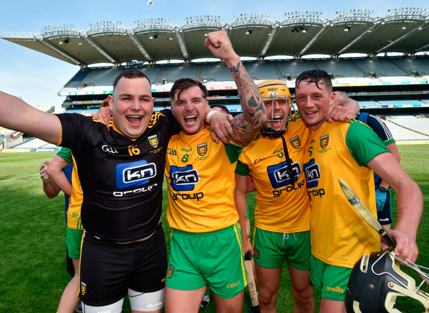 Donegal players Dylan Lafferty, Ciaran Mathewson, Seán McVeigh and Danny Cullin celebrate winning the Nicky Rackard Cup