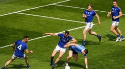 Dublin's Philly McMahon is surrounded by four Longford defenders during the Leinster Championship semi-final this year. Photo: Sportsfile