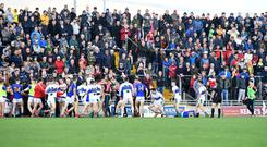 A melee during last Sunday's Kerry senior football championship semi-final replay between Dingle and East Kerry in Tralee. Photo: Domnick Walsh