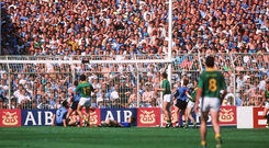 Kevin Foley's goal for Meath in the dying seconds of their epic 1991 encounter with Dublin would be disallowed under the new handpass rule. Photo: Sportsfile