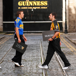 Guinness marking a milestone year and its involvement with the All-Ireland SH championship back in 2009 with the help of Waterford's John Mullane, James Woodlock of Tipperary, Kilkenny supporter Kenneth Morris and Stephen Lucey of Limerick. Photo: Sportsfile