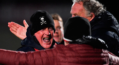 UCC manager Billy Morgan celebrates after the Electric Ireland Sigerson Cup final between St Mary's Belfast and University College Cork. Photo: Sportsfile