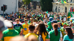 Donegal fans had to cross the border twice to make last year's Ulster SFC final in Clones – a journey which will be hampered by a no-deal Brexit, Joe Kernan and Tom Ryan have warned. Photo: Sportsfile