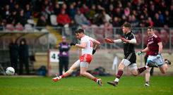 Mattie Donnelly scores Tyrone's second goal against Galway last Sunday. Photo: David Fitzgerald