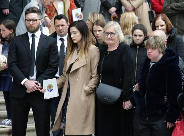 Eugene McGee's family at his funeral last Thursday: son Conor, daughter-in-law Saoirse, wife Marian and daughter Linda. Photo: Damian Eagers