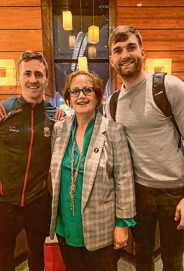 Tim O'Leary's mother Margaret with Cillian O'Connor and Aidan O'Shea