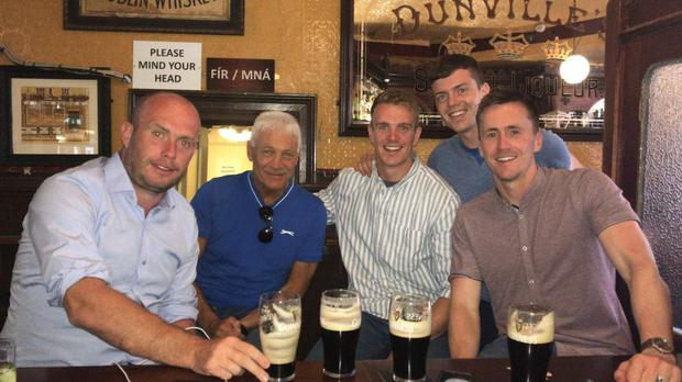 Tim O'Leary (left) with Mayo legend Willie Joe Padden and county players Danny Kirby, Stephen Coen and Cillian O'Connor