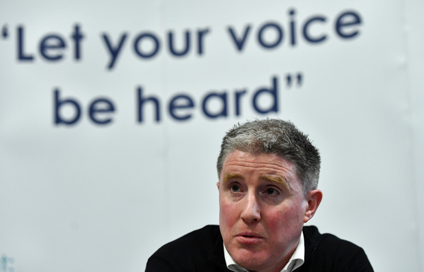 Micheál Briody cut a frustrated figure at the CPA press conference in Dublin last week Photo: Piaras Ó Mídheach. Photo: Piaras Ó Mídheach/Sportsfile