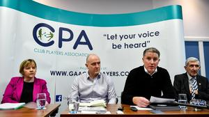 Joan Kehoe, CPA Executive member, Michael Higgins, CPA Secretary, Michéal Briody, CPA Chairman, and Liam Griffin, CPA Executive member, during the Club Players Association press conference at the Carlton Hotel in November, 2019. Photo: Piaras Ó Mídheach/Sportsfile