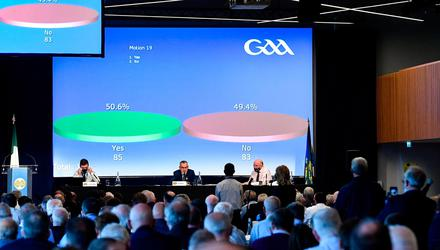 GAA president Larry McCarthy delivered the news that Proposal B had been rejected. Photo: Piaras Ó Mídheach/Sportsfile
