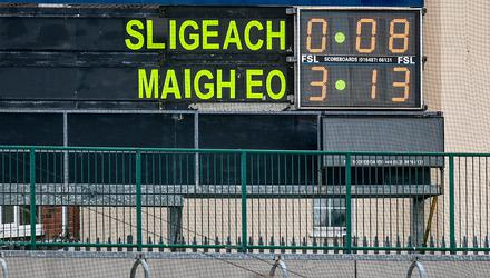 A view of the scoreboard at half-time during the Connacht SFC quarter-final between Sligo and Mayo at Markievicz Park. Mayo eventually won by 3-23 to 0-12. Photo: David Fitzgerald/Sportsfile