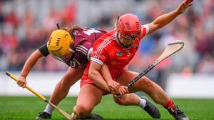 Galway's Siobhán McGrath in action against Cork's Libby Coppinger during Sunday's All-Ireland Senior Camogie Championship final. Photo: Ben McShane/Sportsfile