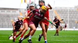 Galway's Siobhán McGrath tries to battle her way past Cork's Ashling Thompson during Sunday's All-Ireland Senior Camogie Championship final at Croke Park. Photo: Ben McShane/Sportsfile