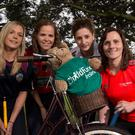 Camogie stars on their bikes for ChildFund: Pictured (L-R) at the announcement that the Camogie Association are partnering with ChildFund Ireland was Sarah Dervan from Galway, Fionnuala Carr from Down, Mags D'Arcy from Wexford and Aoife Murray from Cork. The Camogie Association and ChildFund Ireland will be partnering on a number of key initiatives over a two year period, in particular the Dream Bikes project whereby Camogie clubs and individuals will work to raise funds to donate to ChildFund in order to purchase bikes for school going children in the countries in which ChildFund Ireland work. Mandatory Credit ©INPHO/Billy Stickland