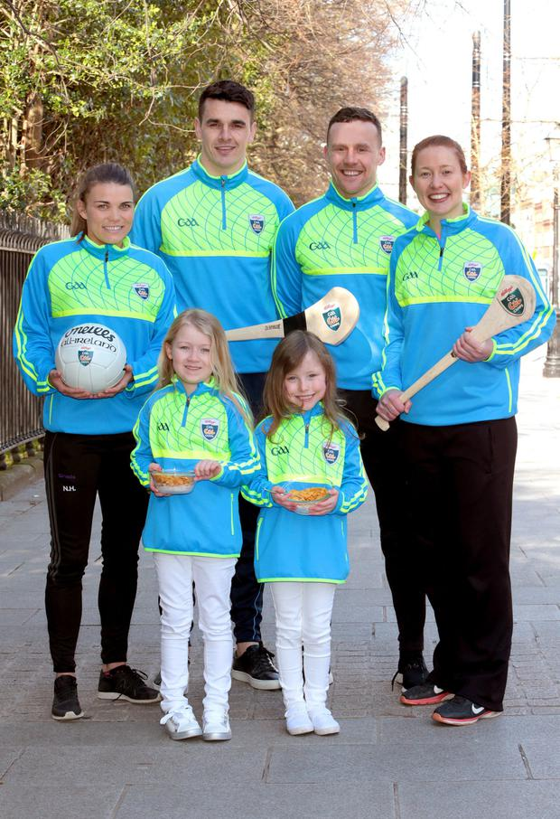 Team player: Rena Buckley, far right, at the launch of the 2018 Kellogs GAA Cúl Camps with GAA stars Niamh Hegarty, Danny Sutcliffe, Andy Moran and young fans. Photo: Brian McEvoy