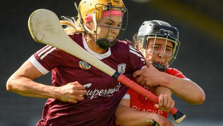 Galway's Sarah Dervan in action against Cork's Linda Collins during their Littlewoods Ireland National League Division 1 semi-final at Nowlan Park, Kilkenny last June. Photo: Matt Browne/Sportsfile