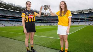 Coveted prize: Kilkenny's Roisin Phelan and Lucia McNaughton of Antrim will be battling it out for the Jack McGrath Cup at Croke Park tomorrow. Photo: INPHO