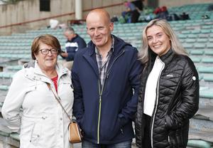 Doon fans Anne Fitzgerald, Dan and Sinead Holmes ahead of the game at the Gaelic Grounds