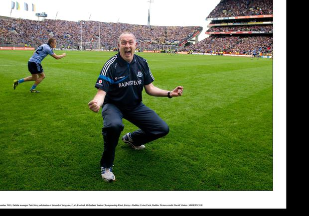 Pat Gilroy celebrates on the final whistle after managing Dublin to a dramatic victory over Kerry in the 2011 All-Ireland SFC final. Photo: David Maher/Sportsfile