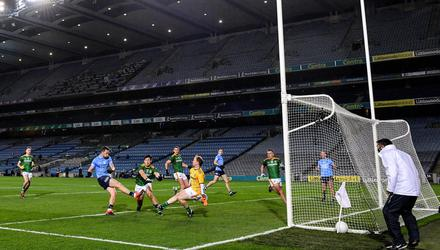 Dean Rock finds the net against Meath in last year's Leinster final. Photo: Ramsey Cardy