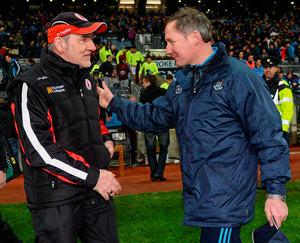 Dublin manager Jim Gavin in conversation with Tyrone manager Mickey Harte