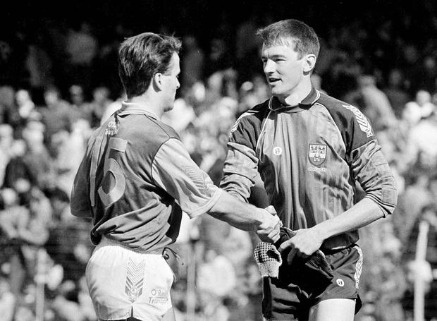 Meath forward Bernard Flynn shakes hands with Dublin goalkeeper John O'Leary after Game 1 of the Leinster SFC 1st round which took place 30 years ago today in Croke Park. Pic: Sportsfile