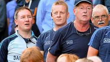 Dublin manager Jim Gavin, left, and his back-room team ahead of Dublin's All-Ireland Semi-Final defeat to Donegal