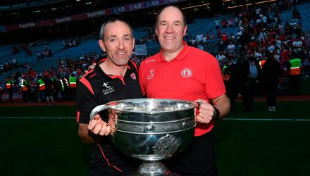 Tyrone joint-managers Brian Dooher, left, and Feargal Logan celebrate with the Sam Maguire Cup after the All-Ireland SFC final win over Mayo at Croke Park in Dublin. Photo by Ramsey Cardy/Sportsfile