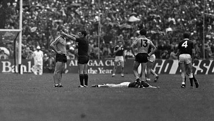Dublin's Brian Mullins is sent off by referee John Gough as a Galway player lies on the ground during the infamous 1983 All-Ireland football final. Photo: Ray McManus/Sportsfile