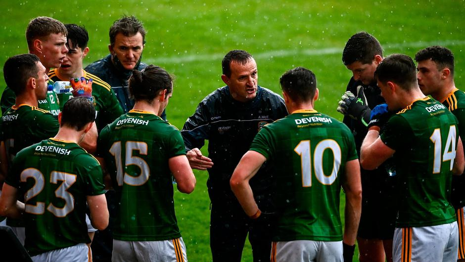 Meath manager Andy McEntee talks to his players at the water break during last Sunday's Allianz FL Division 2 victory over Down at the Athletic Grounds in Armagh. Photo: David Fitzgerald/Sportsfile