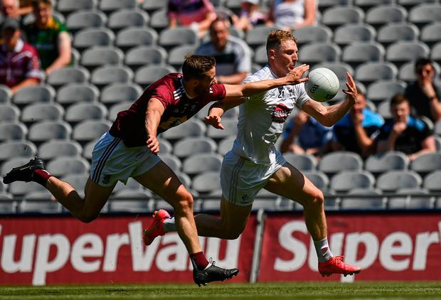Daniel Flynn of Kildare in action against Kevin Maguire of Westmeath during the Leinster GAA Senior Football Championship semi-final. Photo by Harry Murphy/Sportsfile