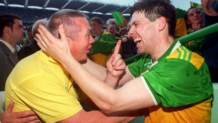 Stephen Stack of Kerry with his manager, the late Paidi O Se after winning the 1997 All-Ireland Senior Football Championship Final. Photo by David Maher/Sportsfile