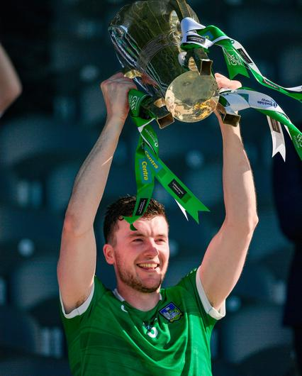 Limerick captain Declan Hannon lifts the Munster Cup the Munster GAA Hurling Senior Championship Final win over Tipperary at Páirc Uí Chaoimh. Photo by Ray McManus/Sportsfile