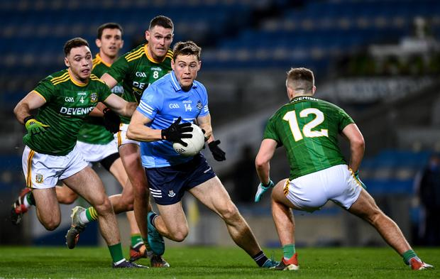 Con O'Callaghan of Dublin in action against David Toner, left, and Séamus Lavin of Meath during last year's Leinster SFC final. Photo: Ray McManus/Sportsfile