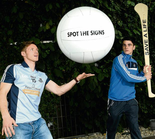 Dublin players Paul Flynn, left, and Danny Sutcliffe at the launch of the 'Mind Our Men' jersey initiative between Pieta House and Dublin GAA