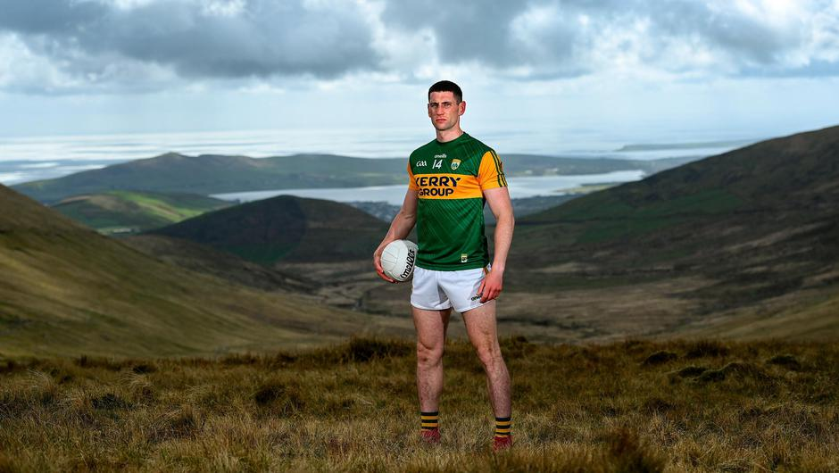 Paul Geaney with the Dingle Peninsula in the background as part of the GPA's Return to Play event to mark the first season where all senior inter-county players are part of the one player association. Photo: Brendan Moran/Sportsfile