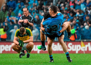 Dublin's Darren Daly celebrates with teammate Rory O'Carroll at the end of the All-Ireland final