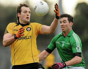 Michael Murphy, Ulster, in action against Michael Darragh MacAuley, Leinster