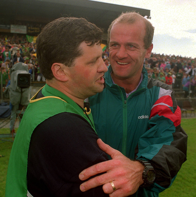 John O'Mahony is congratulated by Mayo manager Jack O'Shea after the 1994 Connacht final. Photo: Sportsfile