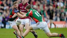 19 May 2013; Fiontan O Curraoin, Galway, in action against Aidan O'Shea, left, and Shane McHale, Mayo. Connacht GAA Football Senior Championship Quarter-Final, Galway v Mayo, Pearse Stadium, Galway. Picture credit: Brian Lawless / SPORTSFILE
