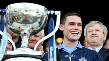 Dublin captain Stephen Cluxton, with GAA ard-stiúrthóir Páraic Duffy to his left, celebrates at the end of last year's Division 1 final win over Derry