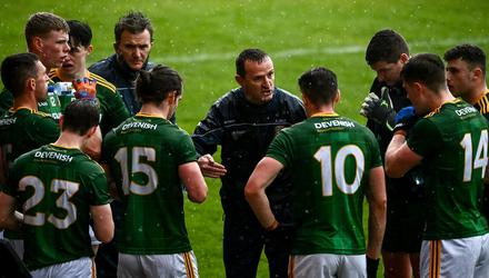 Andy McEntee speaks to his charges. Photo: Sportsfile