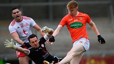 Goal force: Conor Trubitt of Armagh scores his side's second goal past Tyrone goalkeeper Niall Morgan during the Allianz FL Division 1 North match at the Athletic Grounds in Armagh. Photo: Ramsey Cardy/Sportsfile