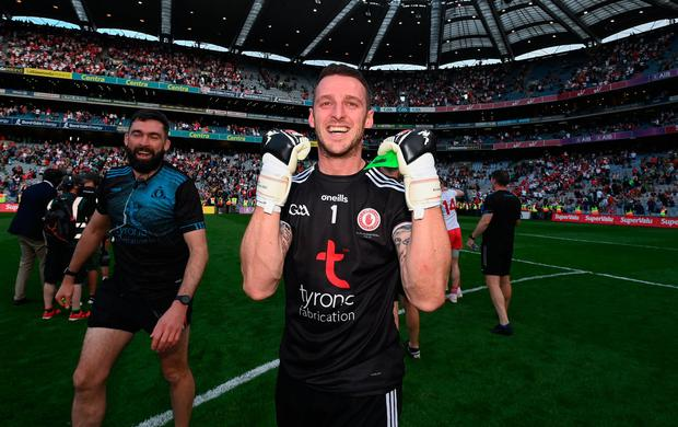 Niall Morgan of Tyrone celebrates after the All-Ireland SFC final win over Mayo at Croke Park in Dublin. Photo by Ramsey Cardy/Sportsfile
