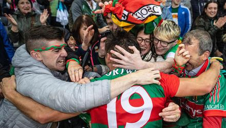 Mayo's Enda Hession celebrates with family and friends after beating Dublin. Hession has replaced Eoghan McLaughlin in James Horan's team for the final.