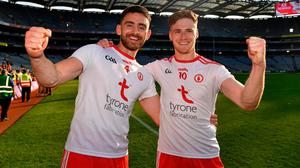 Padraig Hampsey, left, and Conor Meyler of Tyrone celebrate after the All-Ireland SFC semi-final win over Tyrone at Croke Park in Dublin. Photo: Ray McManus/Sportsfile