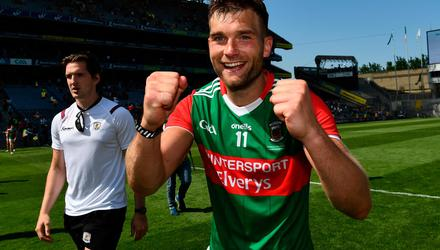 Mayo captain Aidan O'Shea celebrates after his side's Connacht SFC final victory over Galway at Croke Park last Sunday. Photo: Ray McManus/Sportsfile