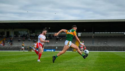 David Clifford of Kerry races clear of Ronan McNamee of Tyrone during the Allianz Football League Division 1 semi-final in Killarney in June. Photo: Brendan Moran/Sportsfile