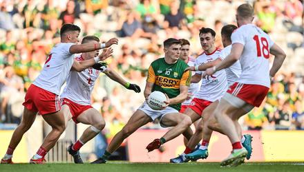Kerry's Diarmuid O'Connor is surrounded by Tyrone players during the All-Ireland semi-final. Photo: Brendan Moran