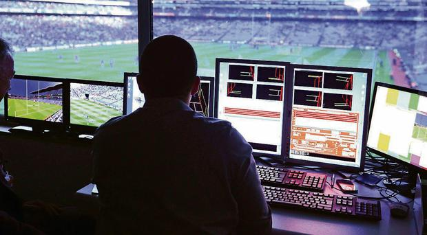 Referees' chief Pat McEnaney in the Hawk-Eye control centre at Croke Park